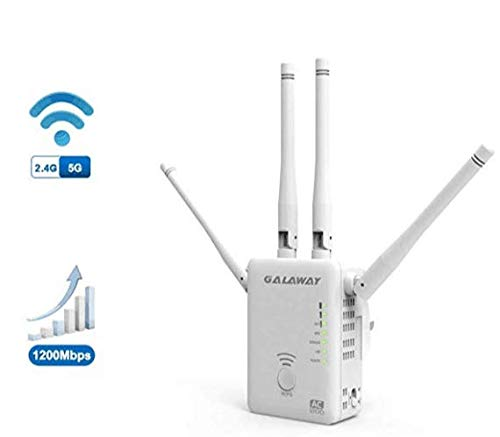 GALAWAY WiFi Extender, 1200Mbps WiFi Range Extender Dual Band 2.4GHz and 5GHz Internet Signal Booster with 4 External High Gain Antennas