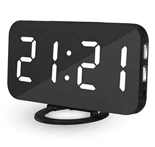 LED Digital Alarm Clock 6.5'' Big Digit Mirror Surface Smart Loud Alarm with Snooze, 3-level Auto/Manual Dimmer and Dual USB charger Port for kids and heavy sleepers (Black Body White word)