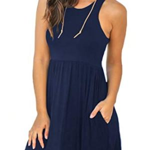 Unbranded Women's Sleeveless Loose Plain Dresses Casual Short Dress with Pockets 10 Fashion Online Shop Gifts for her Gifts for him womens full figure