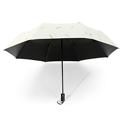 Drehome Sun Rain Umbrella UV Protection Compact, Automatic Foding Travel Umbrella Portable Windproof Rainproof Parasol Umbrella Black Anti-UV Coating White