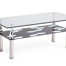 Hodedah Two Tier Rectangle Tempered Glass Coffee Table