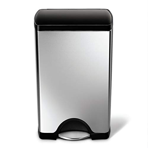 simplehuman Cw1950 Kitchen Trash Can, 10 Gallon, Brushed Stainless Steel w/Black Plastic lid
