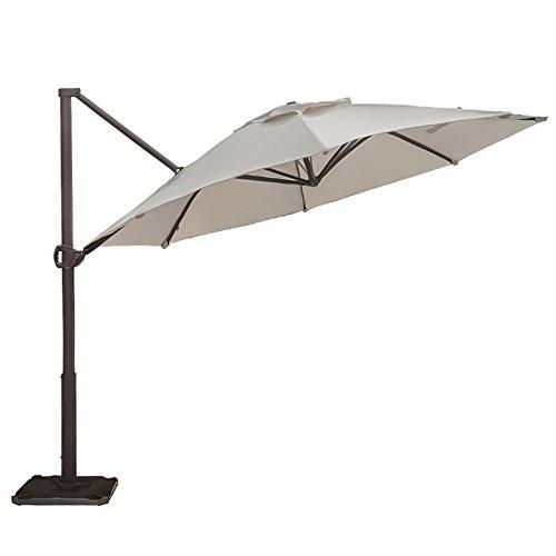 Abba Patio Offset Cantilever Umbrella 11-Feet Outdoor Patio Hanging Umbrella with Cross Base, Beige