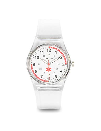 Dakota Easy Clean Water Resistant Plastic Nurse Watch with Lightweight Translucent Color Band (Clear)(Model: 27350)