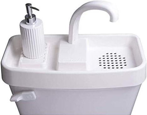 "Sink Twice for tanks 16.8"" or smaller (measured with lid off), but expandable to 21"" with expander kit sold separately"