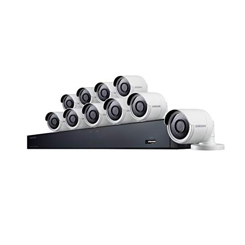 Samsung Wisenet SDH-C85100BF 16 Channel 4MP Super HD DVR Video Security System with 2TB Hard Drive and 10 4MP Weather Resistant Bullet Cameras (SDC-89440BF)