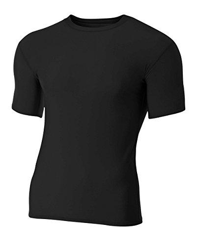 A4 Men's Compression Crew Short Sleeve, Black, Medium