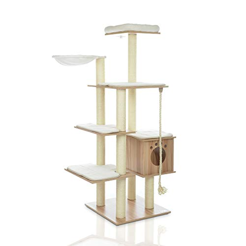 LAZY BUDDY Cat Tree, Wooden Modern Cat Tower, 5 Levels for Cat's Activity, Cat Furniture with Removable and Washable Mats for Kittens, Large Cats and Pets