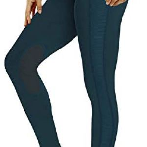 ChinFun Women's Riding Tights High Rise Pull-On Knee Patch Grip Ventilated Active Equestrian Pants Schooling Riding…