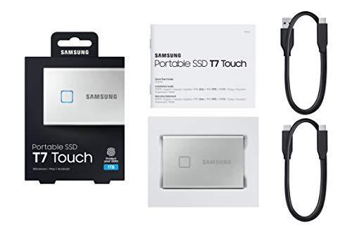 Samsung Galaxy Z Flip (Black, 8GB RAM, 256GB Storage)-Samsung T7 Touch 1TB USB 3.2 Gen 2 (10Gbps, Type-C) External Solid State Drive (Portable SSD) Silver (MU-PC1T0B) 8