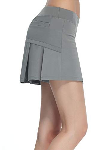 Women's Workout Active Skorts Sports Tennis Golf Skirt Built-in Shorts Casual Workout Clothes Athletic Yoga Apparel Grey