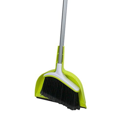 Casabella Basics Broom with Dustpan, Silver and Green,