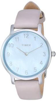 Timex Women's TW2T35900 Metropolitan 34mm Gray/Silver-Tone/MOP Leather Strap Watch