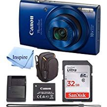 Canon PowerShot ELPH 190 Digital Camera COMPLETE BUNDLE w/10x Optical Zoom and Image Stabilization Wi-Fi & NFC Enabled + ELPH 190 Case + SD Card + USB Cable +32 GB MEMORY