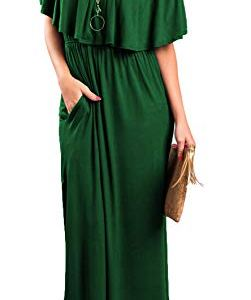 Sarin Mathews Womens Off The Shoulder Ruffle Party Dress Casual Side Split Beach Long Maxi Dresses with Pockets 1 🛒 Fashion Online Shop gifts for her gifts for him womens full figure