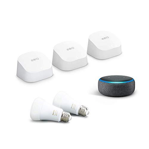 Introducing-Amazon-eero-6-mesh-WiFi-system-bundle-with-Echo-Dot-Charcoal-and-2-Philips-Hue-Bulbs-White