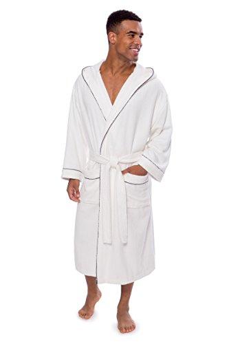 Texere Men's Luxury Terry Cloth Bathrobe (EcoComfort, White, LXL) Gift for Dad