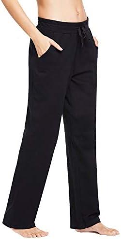 BALEAF Women's Cotton Leisure Drawstring Yoga Sweatpants Straight Bottom Leg Lounge Walking Wide Pajamas Pocketed 2