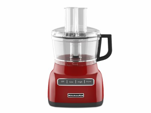 KitchenAid KFP0711ER Empire Red Food Processor, 7 Cup, Contour Silver