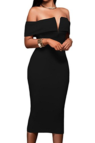 31uTSmrlrYL Featuring an off-the-shoulder neckline with V cut padded bust and flattering midi silhouette in a curve-hugging fit, back slit for convenient wear Center back zipper closure finished.