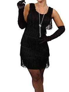 ILOVEFANCYDRESS-Dguisement-pour-Femme-des-annes-20-avec-Cette-Magnifique-Robe-Noire--Franges-Devant-et-derrire-Style-Charleston-Accessoires-XX-Large