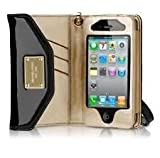 Michael Kors Iphone 3 4 Phone Case Wallet Clutch Wristlet Patent Black New with Tag