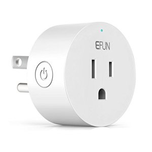 EFUN SH330W Wi-Fi Smart Plug Outlet,No Hub Required,Overload Protection,Fire Retardant Material,Space Saving,Works with Alexa and Google Assistant