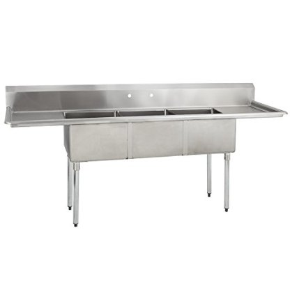 Fenix-Sol-18G-3C18X24-218-Three-Compartment-Stainless-Steel-Sink-Bowl-18L-x-24W-x-12D-Overall-Size-90L-x-298W-x-43H-2-x-18-Drainboards-Galv-Legs
