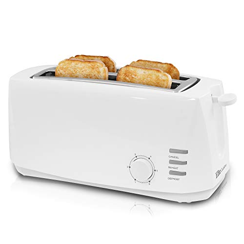Maxi-Matic ECT-4829 Long Cool Touch 4-Slice Toaster with Extra Wide 1.25' Slots for for Bagels, Waffles and Specialty Breads, Cancel, Reheat, Defrost 6 Shade Settings, White