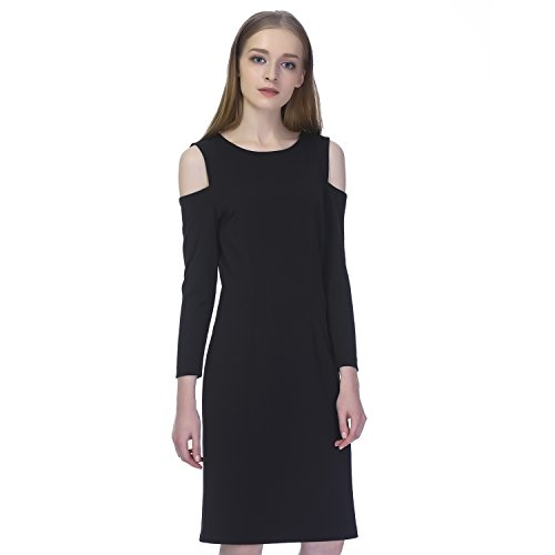 Mid-length shift dress featuring cutouts at shoulders and bracelet-length sleeves Round neck, straight hem, black dress Wear this essential little black dress with a sweater or a blazer to the office or on its own for a night out.