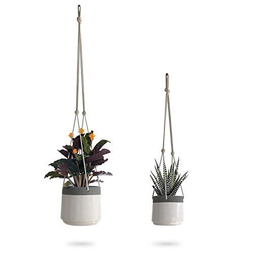 51c480474c Ceramic Hanging Planter | White Gray Succulent Pots | Round Plant ...