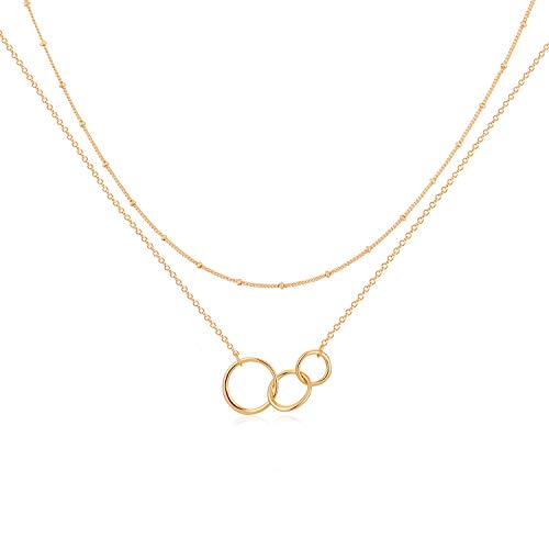 Mevecco Layered Heart Necklace Pendant Handmade 18k Gold Plated Dainty Gold Choker Arrow Bar Layering Long Necklace