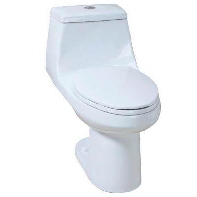 1-piece High Efficiency Dual Flush Elongated Toilet in White