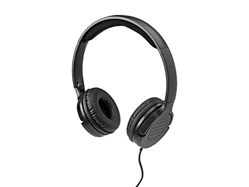 Monoprice Hi-Fi Lightweight On-Ear Headphones - Black with Microphone and in-line volume control for Apple Iphone iPod Android Smartphone Samsung Galaxy Tablets MP3