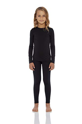 Rocky Girls Fleece Lined Thermal 2PC Underwear Set Top and Bottom (L, Black)