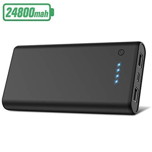 Portable Charger Power Bank【24800mAh】 HETP High Capacity External Battery Pack with 4 LED Lights Ultra-Compact High-Speed Recharging Battery Charger for Smart Phone Android Tablet and More -Black