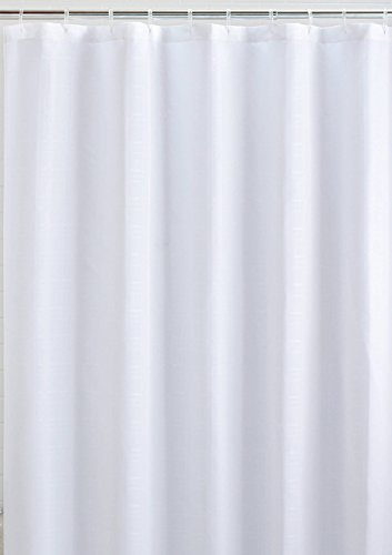 Mildew Resistant Fabric Shower Curtain Waterproof/Water-Repellent & Antibacterial, 72x72 - White