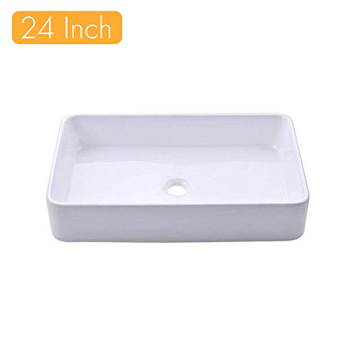KES Bathroom Sink, Vessel Sink 24 Inch Porcelain Rectangular White Above Counter for Lavatory Vanity Cabinet Contemporary Style, BVS113
