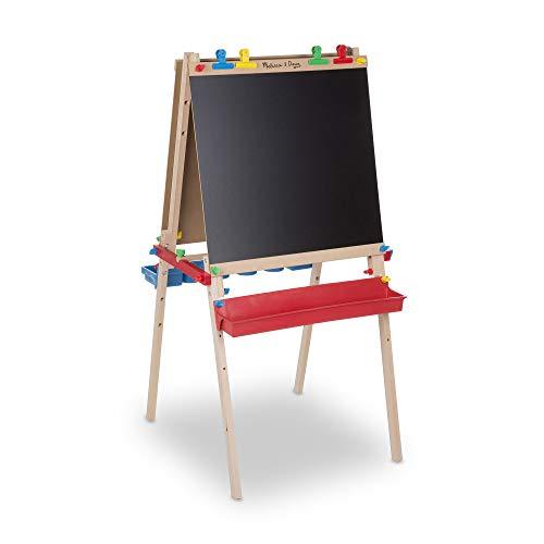 Melissa & Doug Deluxe Standing Art Easel - Dry-Erase Board, Chalkboard, Paper Roller, Standard Packaging