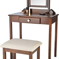 Amazon Basics Classic Compact Vanity Table Set with Stool and Mirror – Brown