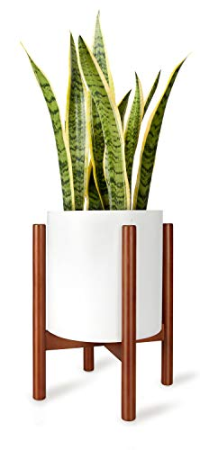 Mkono Plant Stand Mid Century Wood Flower Pot Holder Display Potted Rack Rustic Decor, Up to 10 Inch Planter (Plant and Pot NOT Included), Brown