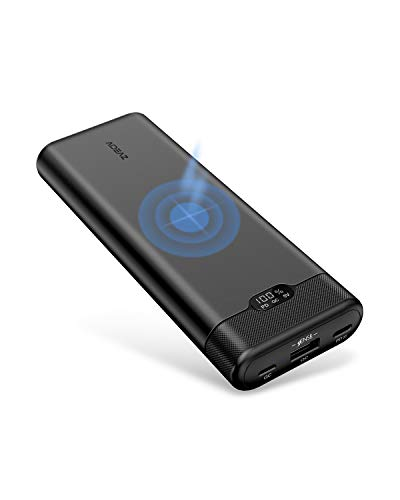 AideaZ Power Bank Ultra Compact 20000mAh Portable Charger Wireless Charging LCD Display 18W Power Delivery Portable Charger External Batteries Compatible with iPhone8 8Plus Xs, Samsung Galaxy and More