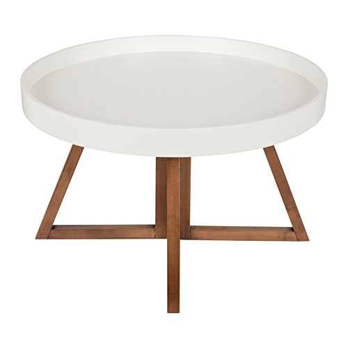 Kate And Laurel Avery 30 Inch Round Coffee Table White And Walnut