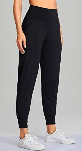 Oalka Women's Joggers High Waist Yoga Pockets Sweatpants Sport Workout Pants 2