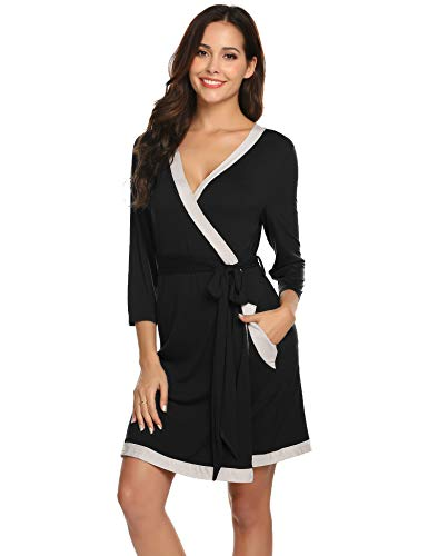 Womens Cotton Robe Soft Kimono Robes Knit Bathrobe Loungewear Sleepwear Short Black-XL