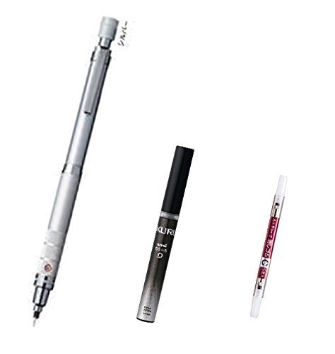 Uni Kuru Toga Roulette Model Auto Lead Rotation Mechanical Pencil 0.5 Mm - Silver Body (M5-10171P.26) with the Spare 20 Leads Only for Kuru Toga & Pencil Eraser for Kuru Toga (Set of 5) Value Set (With Our Shop Original Product Description)