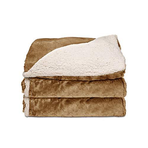 Sunbeam Heated Throw Blanket | Reversible Sherpa/Royal Mink, 3 Heat Settings, Honey