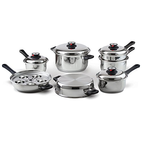 Maxam 9-Element Waterless Cookware Set, Durable Stainless Steel...