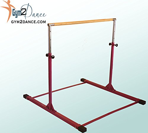 Gymnastics Bar Adjustable 3' to 5' Model DX Barney Purple, 1.5' Dia. Solid Hardwood, Very Sturdy From Gym2dance