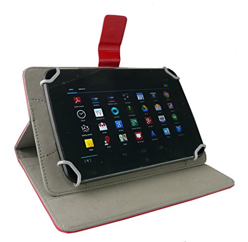 41%2B7zScS4GL Emartbuy Smart Hard Back Flip Stand Wallet Cover for Amazon Fire HD 7 Tablet : Size (7-8 Inch) - Red Plain